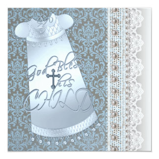Blue Gown Brown Blue Damask Baby Boy Christening 13 Cm X 13 Cm Square Invitation Card