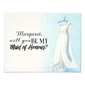 "Blue Gown ""Will you be my  maid of honour"" Card"