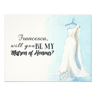 "Blue Gown ""Will you be my matron of honour"" Card"