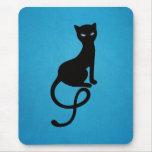 Blue Gracious Evil Black Cat Mouse Pad