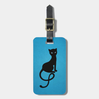Blue Gracious Evil Black Cat Personalized Luggage Tag