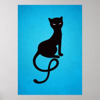 Blue Gracious Evil Black Cat Poster