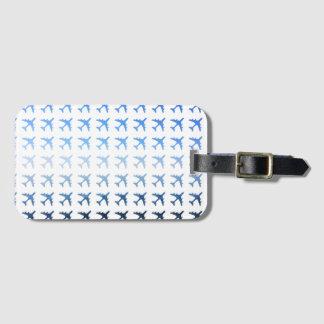 Blue Gradient Airplane Pattern Luggage Tag