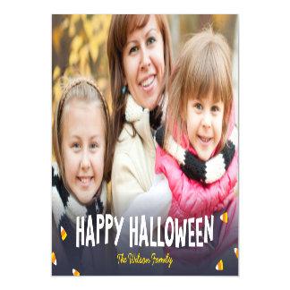 Blue Gradient Candy Corn Happy Halloween Photo Magnetic Invitations