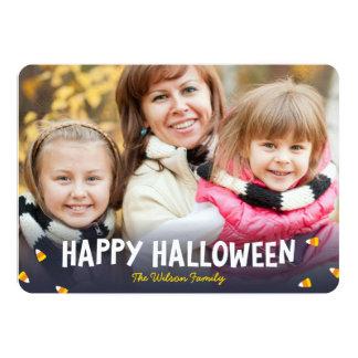 Blue Gradient Candy Corn Photo Happy Halloween 13 Cm X 18 Cm Invitation Card