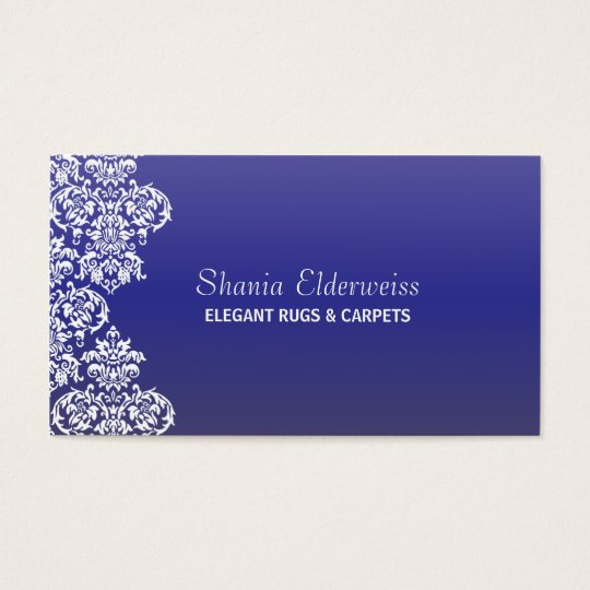 Blue Gradient Damask Business Card