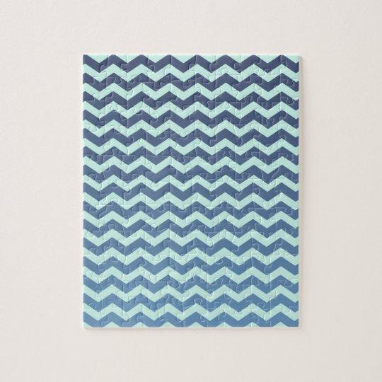 Blue Gradient on Mint Chevron Jigsaw Puzzle