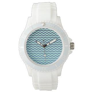 Blue Gradient on Mint Chevron Wristwatches