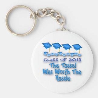 Blue Graduation Caps Key Chains