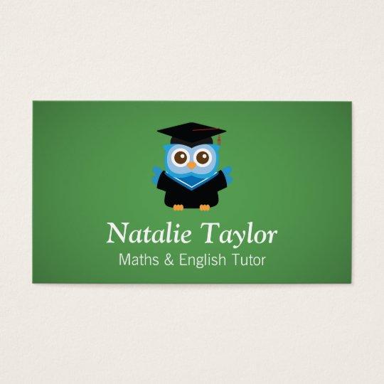 Blue Graduation Owl, Personal Tutor or Teacher Business