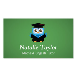 Blue Graduation Owl, Personal Tutor or Teacher Pack Of Standard Business Cards