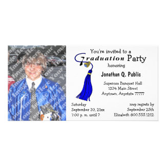 Blue Graduation Party Photo Invitation