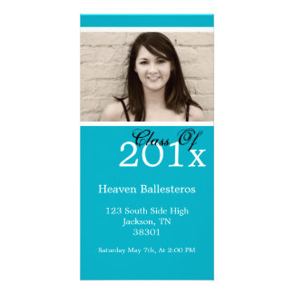 Blue Graduation Photo Card Invites