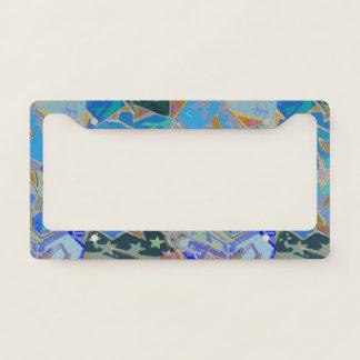 Blue Graffiti Design License Plate Frame