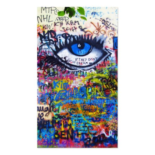 Blue graffiti evil eye business card templates