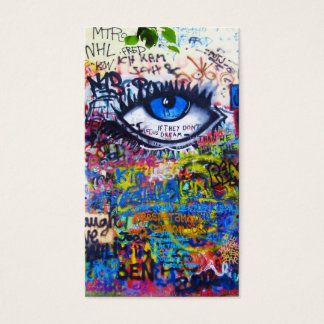 Blue graffiti evil eye business card