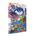 Blue graffiti evil eye canvas print