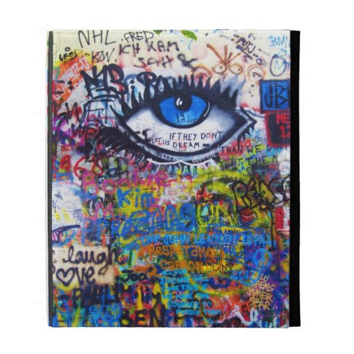 Blue graffiti evil eye iPad case