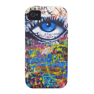 Blue graffiti evil eye iPhone 4 cases