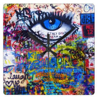 Blue graffiti evil eye clock