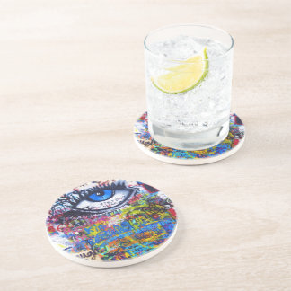 Blue graffiti evil eye coaster