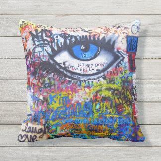 Blue graffiti evil eye cushion