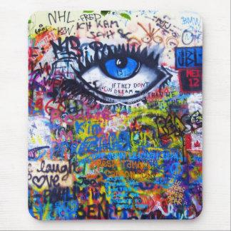 Blue graffiti evil eye mouse mat