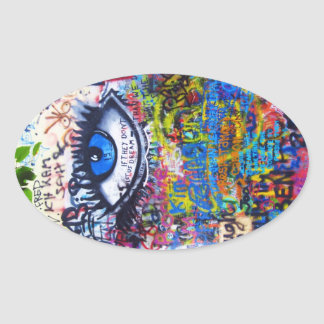 Blue graffiti evil eye oval sticker