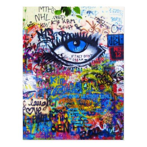 Blue graffiti evil eye post card