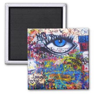 Blue graffiti evil eye square magnet