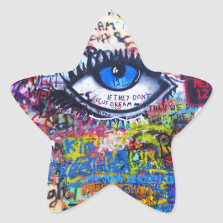 Blue graffiti evil eye sticker