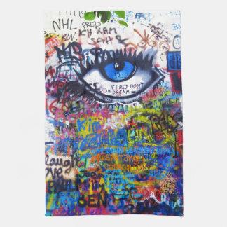 Blue graffiti evil eye hand towel
