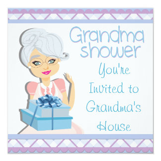 Blue Grandma Baby Shower 13 Cm X 13 Cm Square Invitation Card