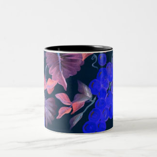blue grapes with wine colored vine coffee mug