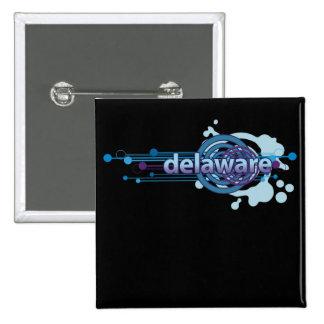 Blue Graphic Circle Delaware Button Dark