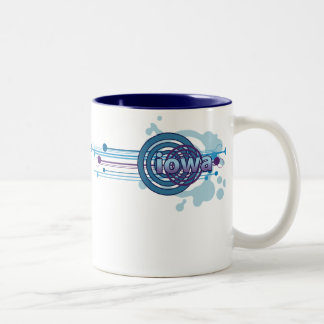 Blue Graphic Circle Iowa Mug