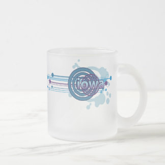 Blue Graphic Circle Iowa Mug Glass