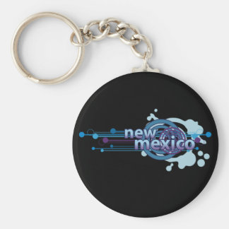 Blue Graphic Circle New Mexico Keychain Dark