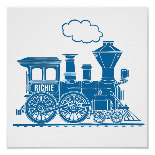 Blue graphic train personalised nursery kids art poster