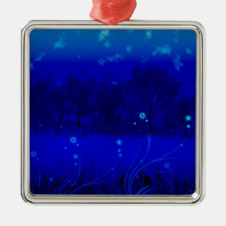 blue grass flowers Silver-Colored square decoration