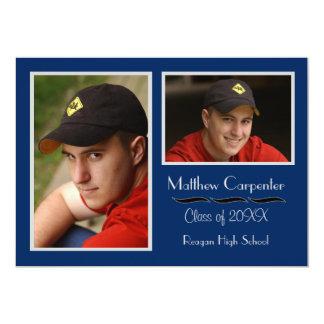 Blue & Gray 2 Photo Collage - Grad Announcement