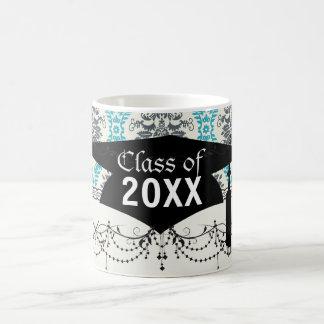 blue gray and cream elegant damask graduation basic white mug