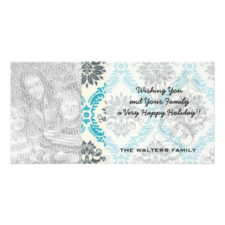 blue gray and cream elegant damask photo card template