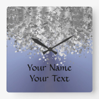 Blue gray and faux glitter square wall clock