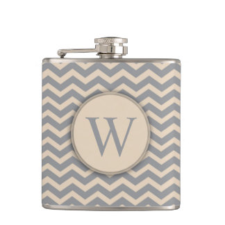 Blue Gray and Neutral Chevron Monogram Flask