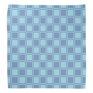 Blue/Gray and Pastel Blue Outlined Squares Bandana