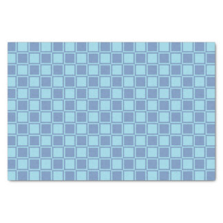 Blue/Gray and Pastel Blue Outlined Squares Tissue Paper