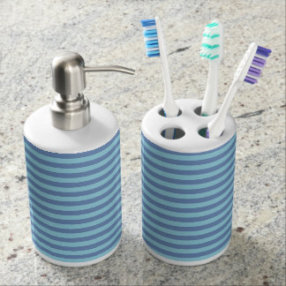 Blue/Gray and Pastel Blue Stripes Bathroom Set