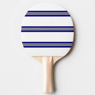 Blue Gray and White Strip Design Ping Pong Paddle