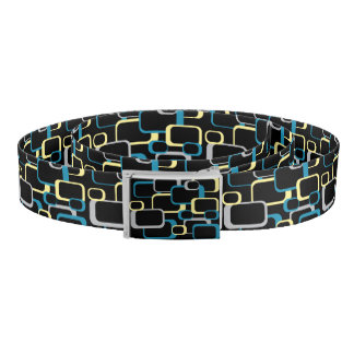Blue Gray and Yellow Retro Squares Belt